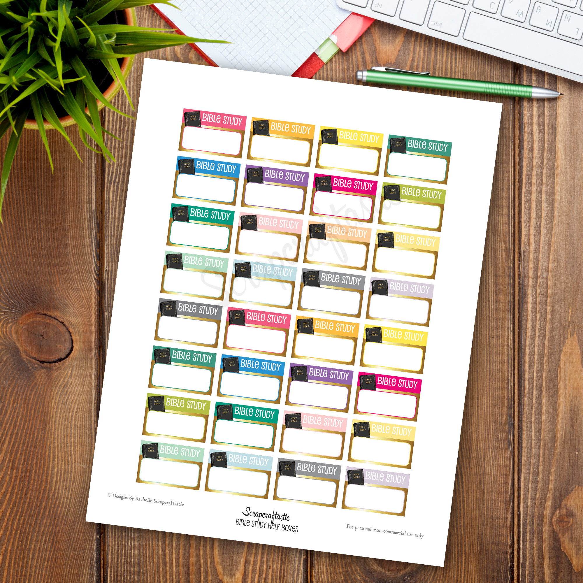 Bible Study Half Box Printable Planner Stickers 04020