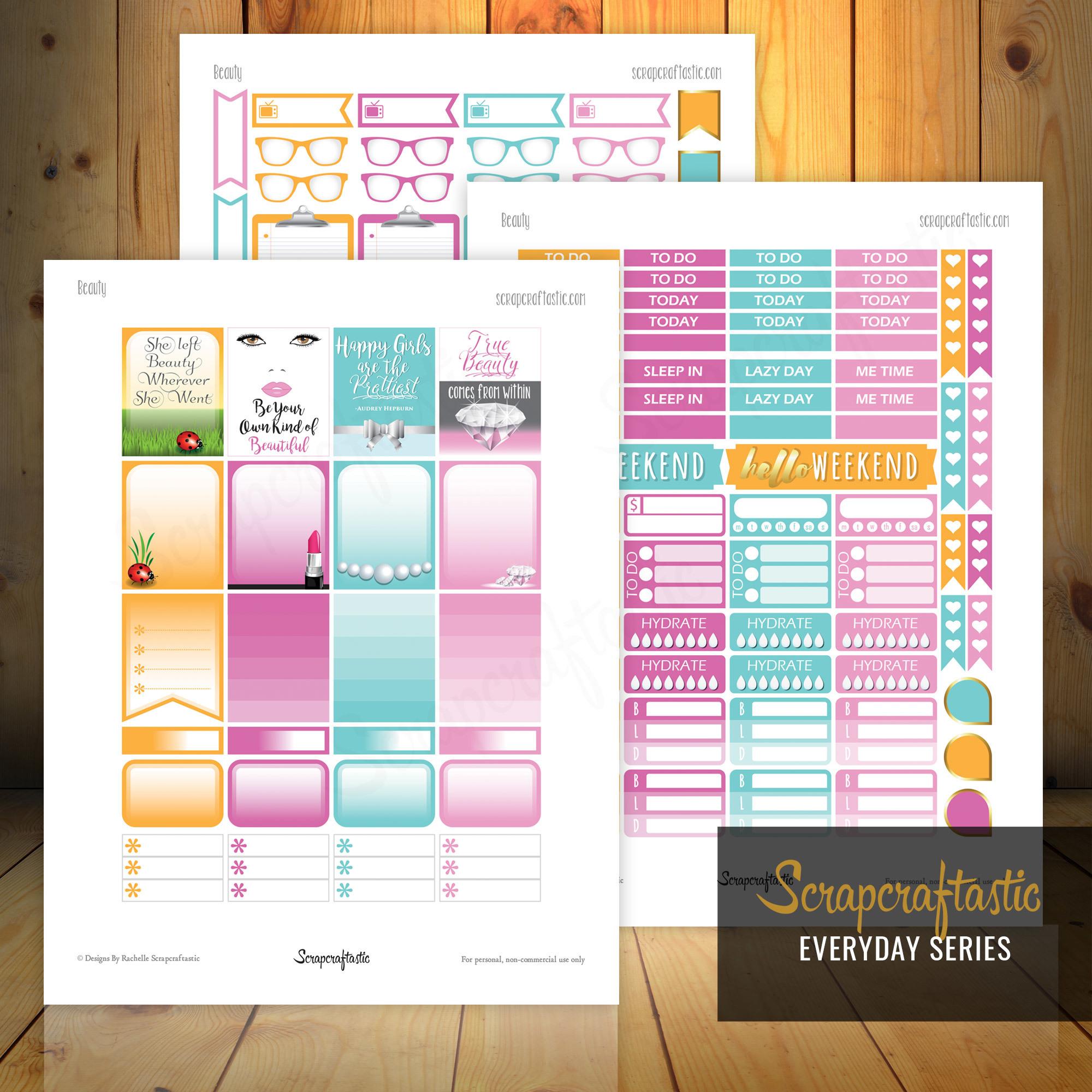 Beauty Printable Planner Stickers for Erin Condren Planner 04104