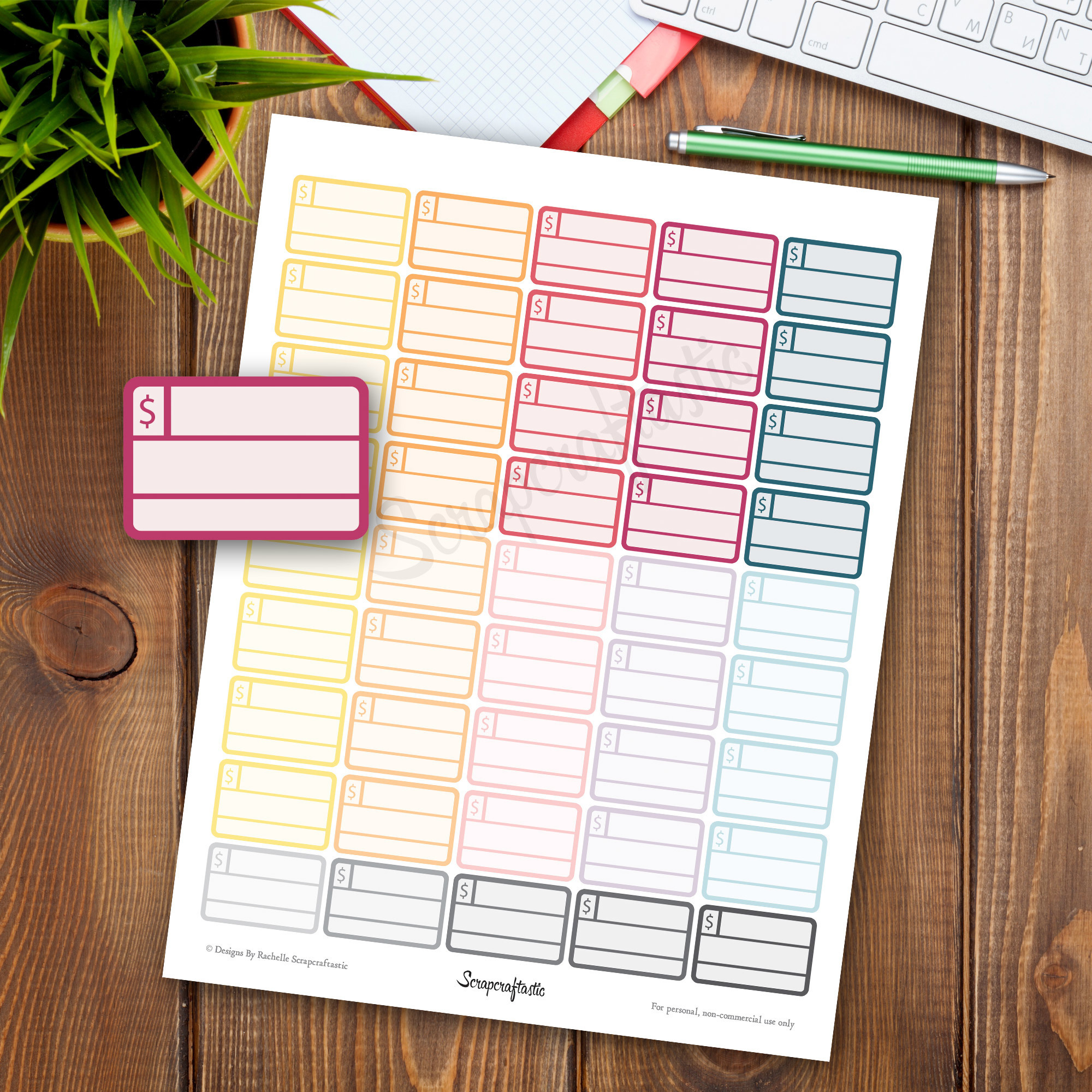 Bill Pay Half Box Printable Planner Stickers for Erin Condren Life Planner, Filofax, Mambi Happy Planner, Personal Planner, Paper Planner 04148