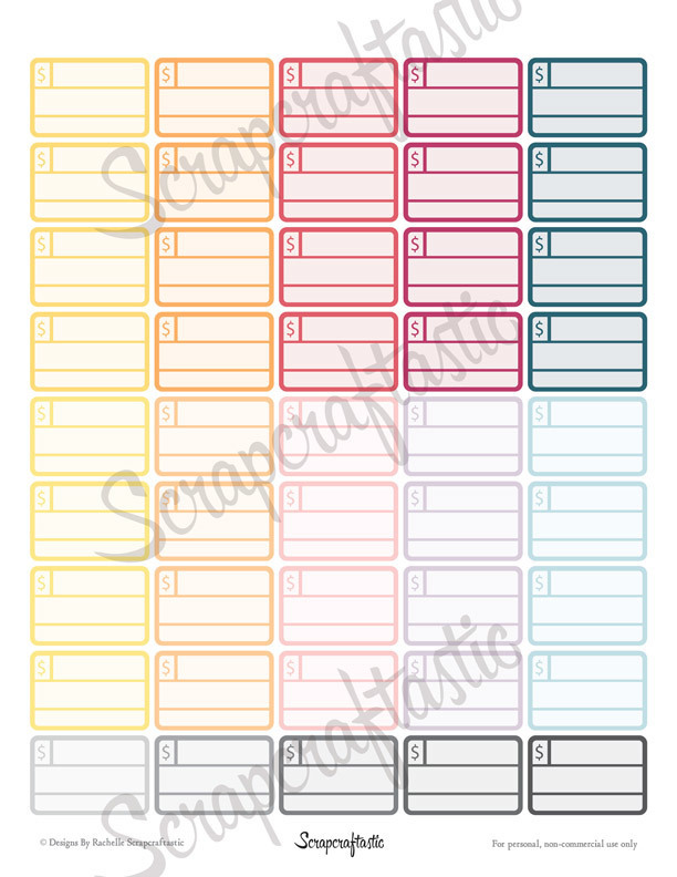 Bill Pay Half Box Printable Planner Stickers for Erin Condren Life Planner, Filofax, Mambi Happy Planner, Personal Planner, Paper Planner