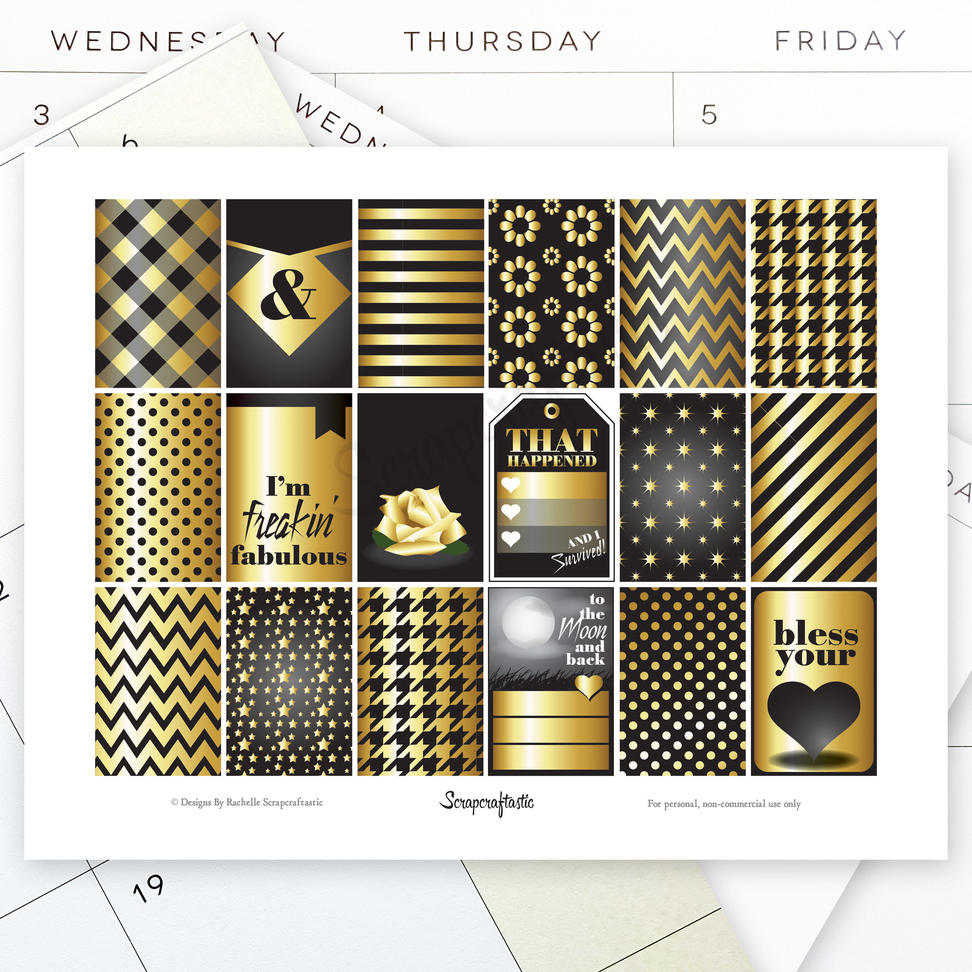 Black & Gold Full Box Patterns and Designs for the Classic Mambi Happy Planner 04153