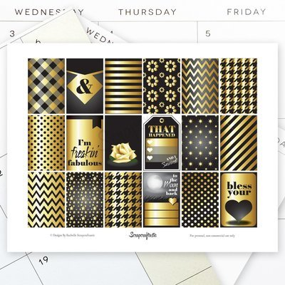 Black & Gold Full Box Patterns and Designs for the Classic Mambi Happy Planner