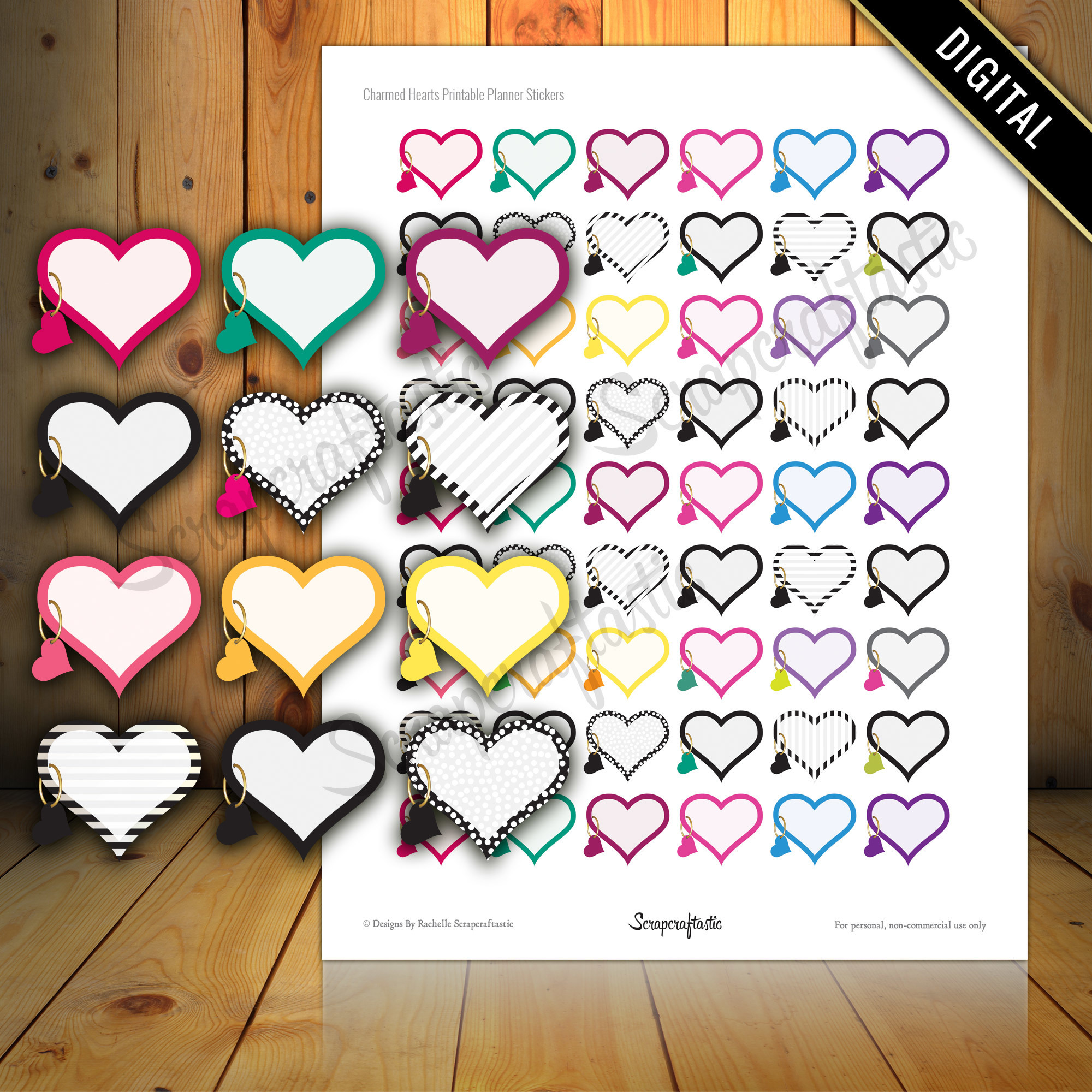 Charmed Hearts Printable Planner Stickers for Paper Planners, Agendas and Organizers 04061