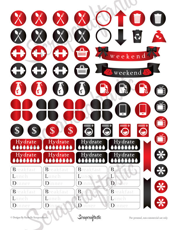 Vamped Everyday Series Printable Planner Stickers for the Classic MAMBI Happy Planner