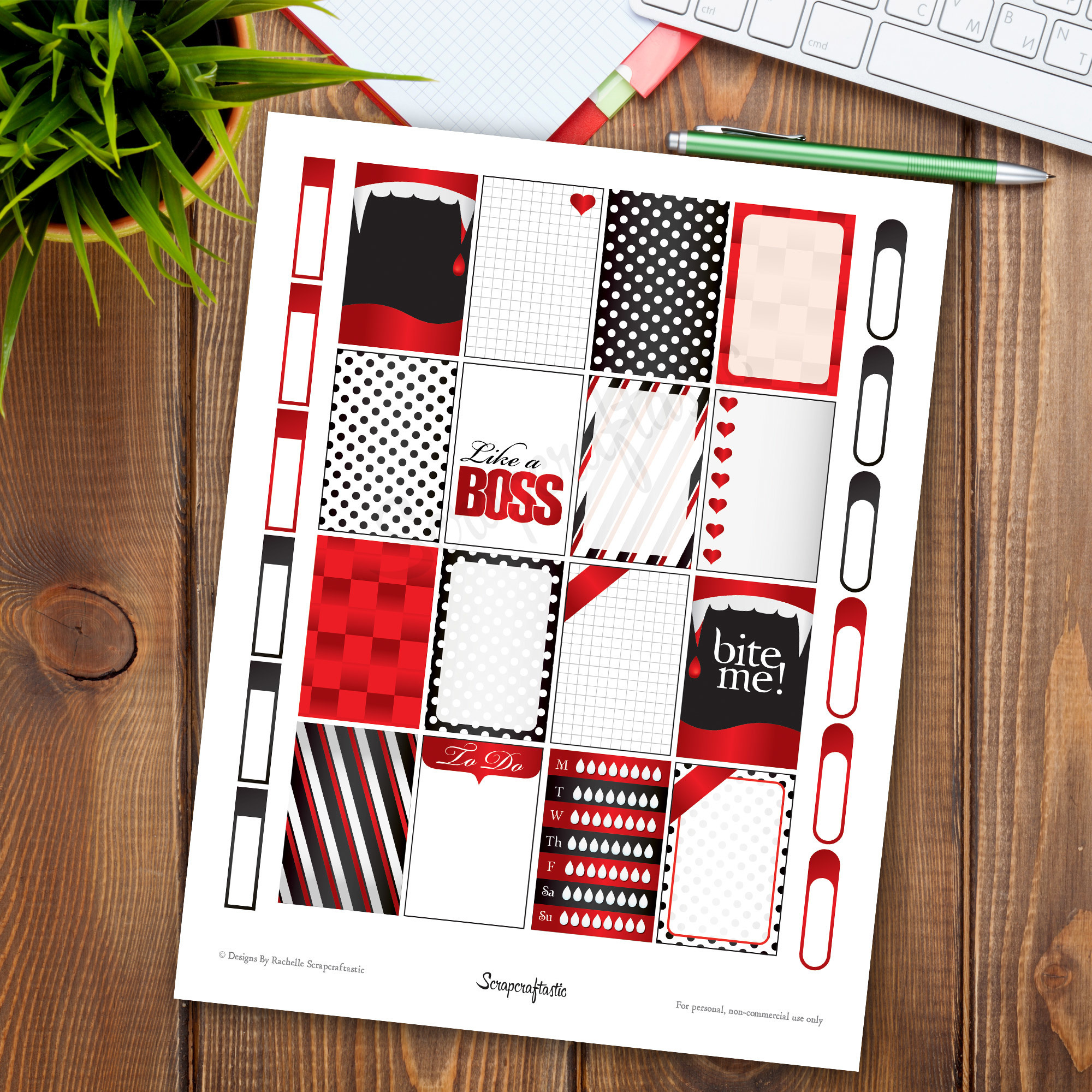 Vamped Printable Planner Stickers for the Classic MAMBI Happy Planner 04102
