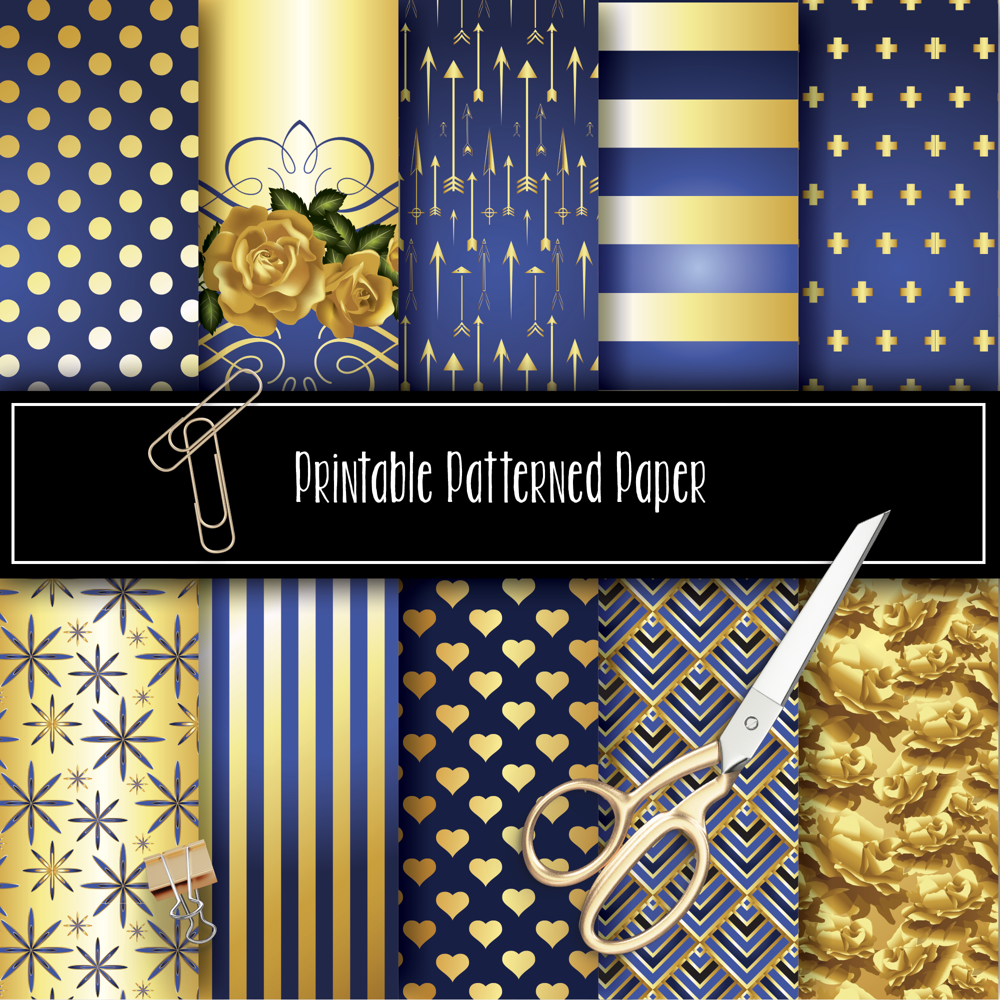 10 Augusta Blue Printable Pattern Papers (8.5x11) 08002