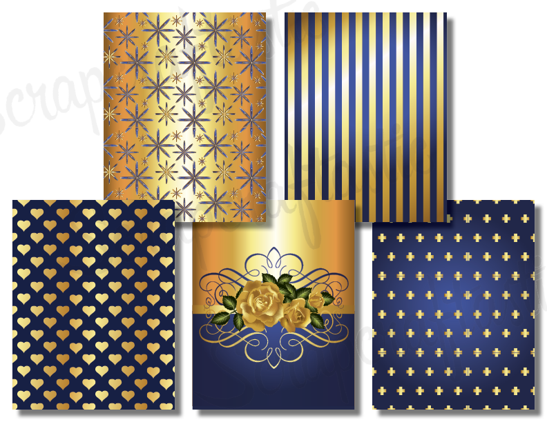 10 Augusta Blue Printable Pattern Papers (8.5x11)