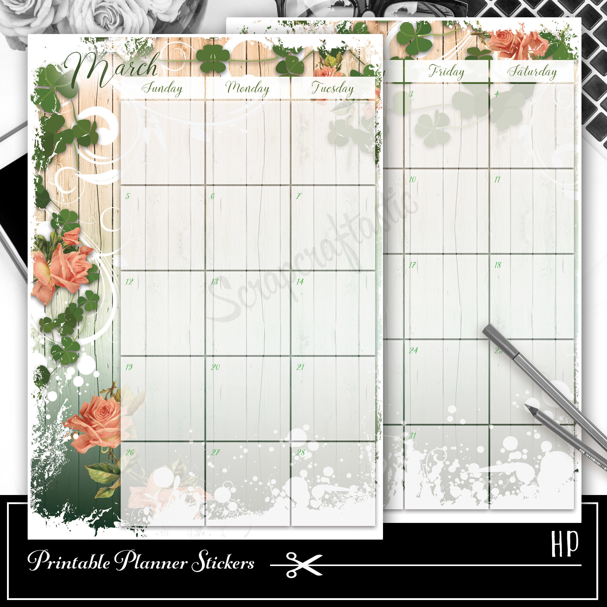 Lucky Wish Spread Printable Planner Sticker Overlay for classic size Mambi Happy Planner 01021