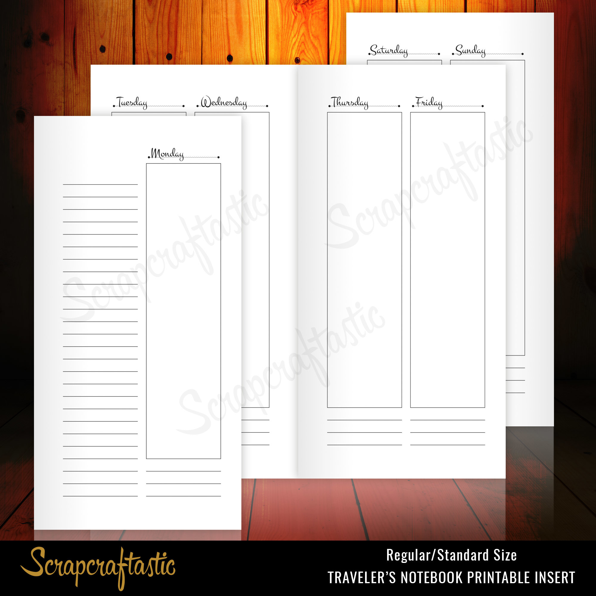 Week on 4 Pages (WO4P) Monday Start Vertical for Regular Size Midori style Traveler's Notebook Printable Insert 30009