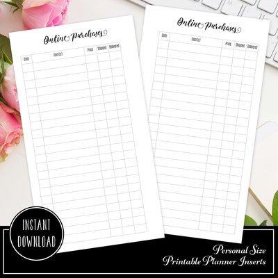 Online Purchase / Order Tracker Planner Insert Refill | Personal Size Planner Filofax Kikki K ColorCrush (V2)