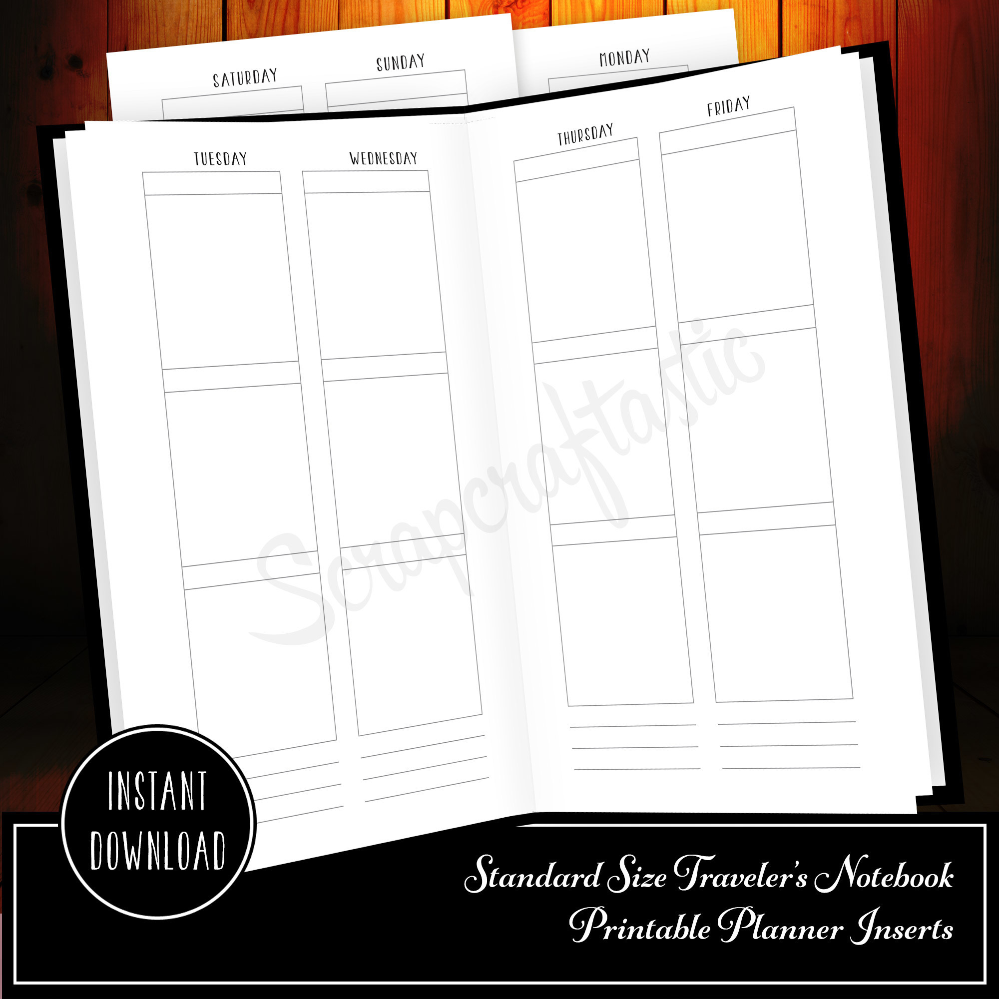 Week On Four Pages (WO4P) Standard Traveler's Notebook Printable Inserts 30005