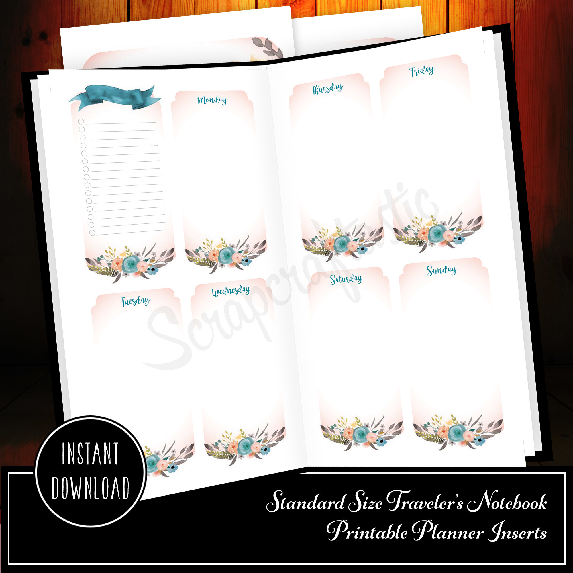Ice Cream Undated Week on Two Page (WO2P) and Lined Notes Standard/Regular Size Designed Printable Travelers Notebook 30006