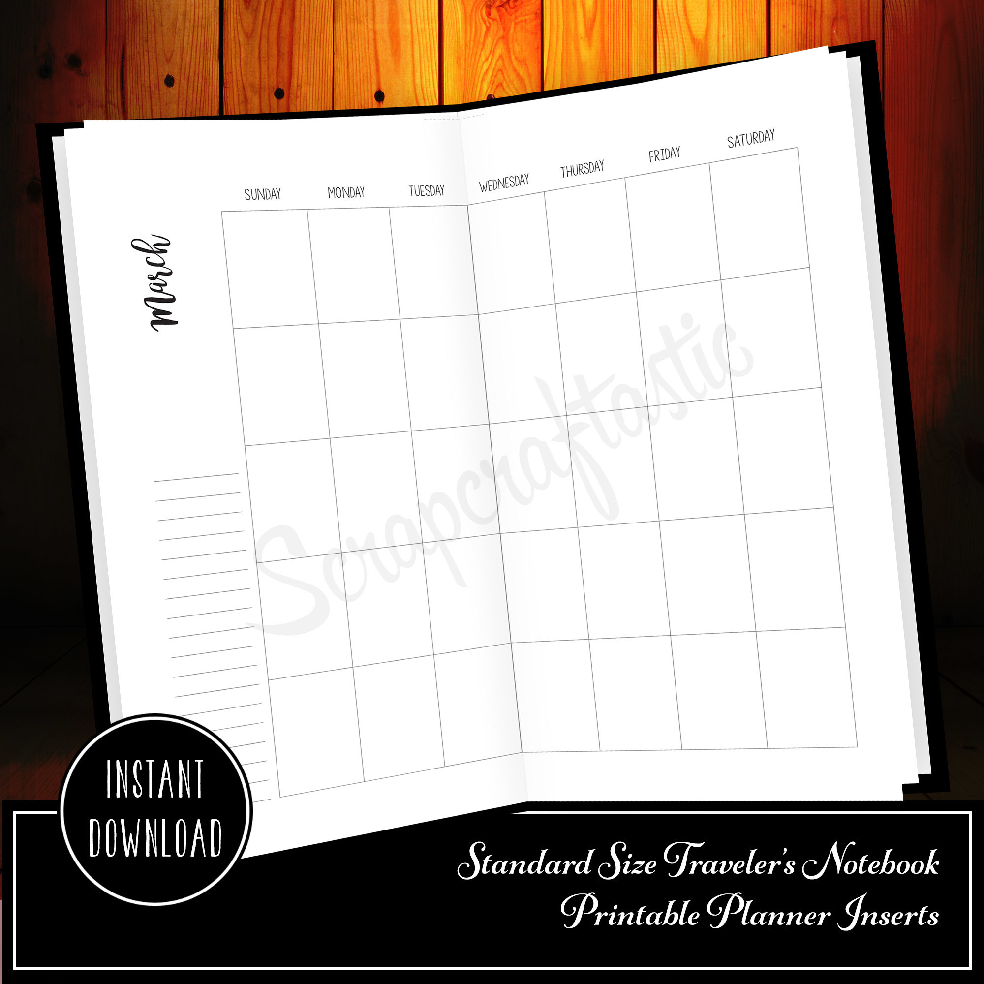 One Year of Monthly Inserts (MO2P) - Regular/Standard Size Traveler's Notebook Printable Inserts 30008