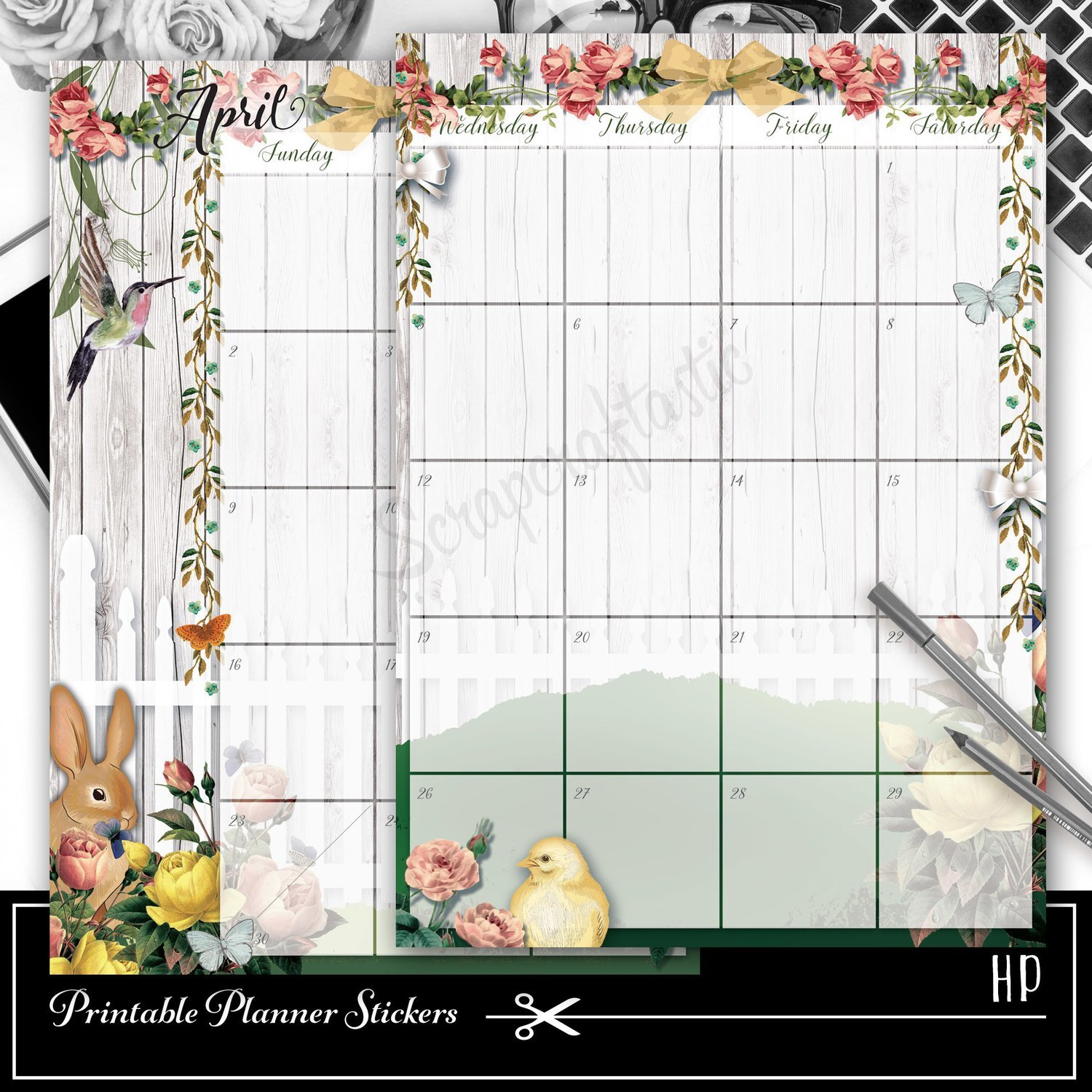 CLASSIC DISC - Spring Fest Spread Printable Planner Sticker Overlay for classic size Mambi Happy Planner