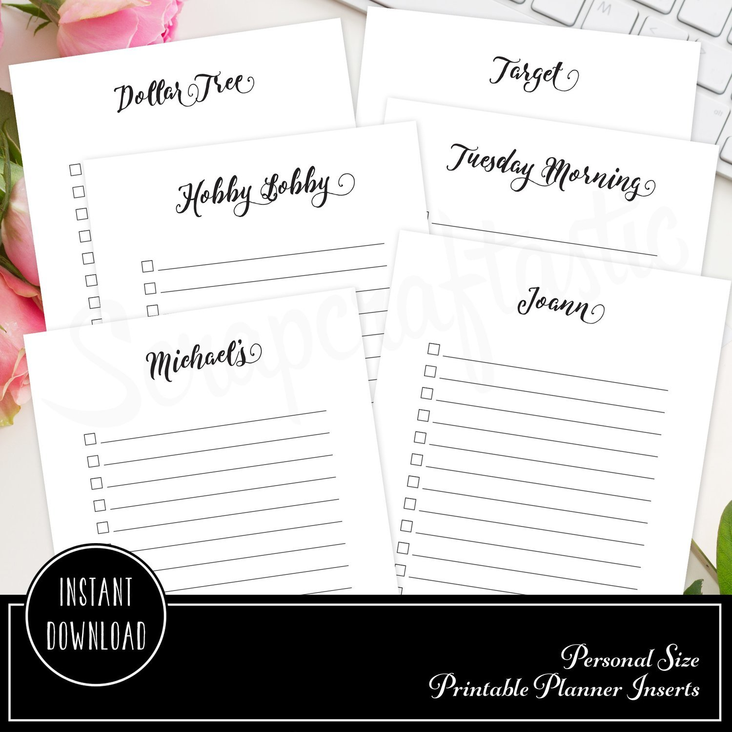 Shopping Check List Personal Size Printable Planner Inserts