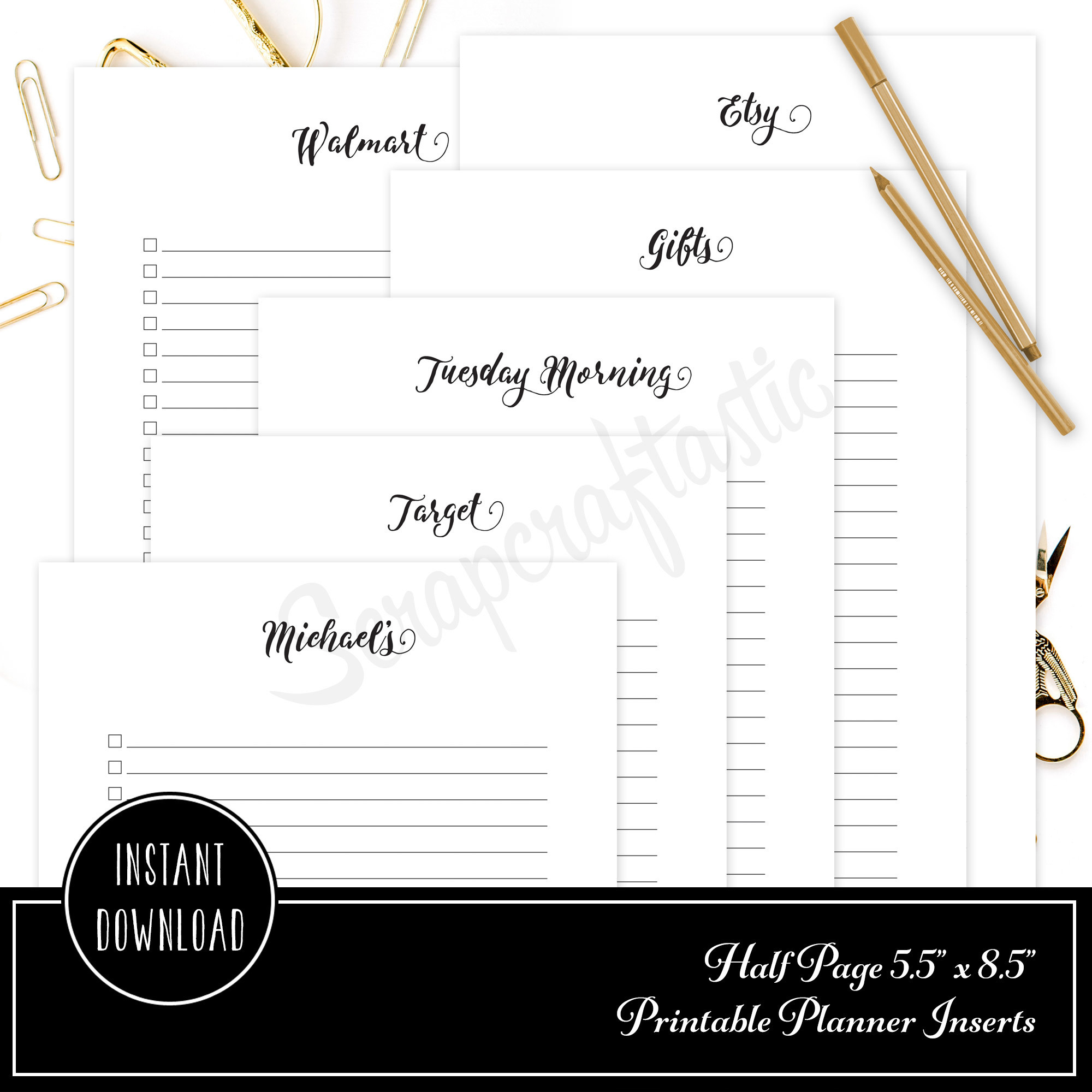 [PRINTED] Shopping Check List Half Page/A5 Size Printable Planner Inserts 00312