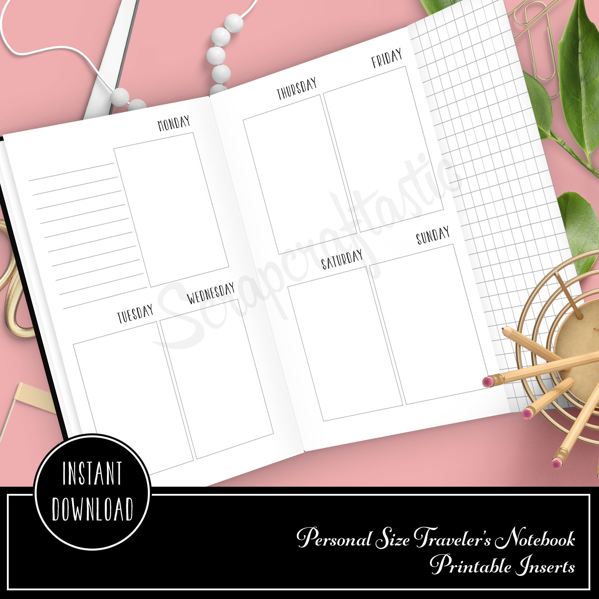 Vertical Style (Vertical Days) Week On Two Pages Personal Size with Grid Tip-In Traveler's Notebook Printable Planner Inserts Undated 09005