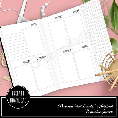 Vertical Style (Vertical Days) Week On Two Pages Personal Size with Grid Tip-In Traveler's Notebook Printable Planner Inserts Undated