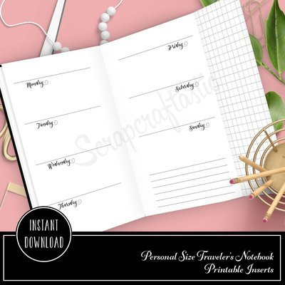 Horizontal Week On Two Pages Personal Size with Grid Tip-In Traveler's Notebook Printable Planner Inserts Undated