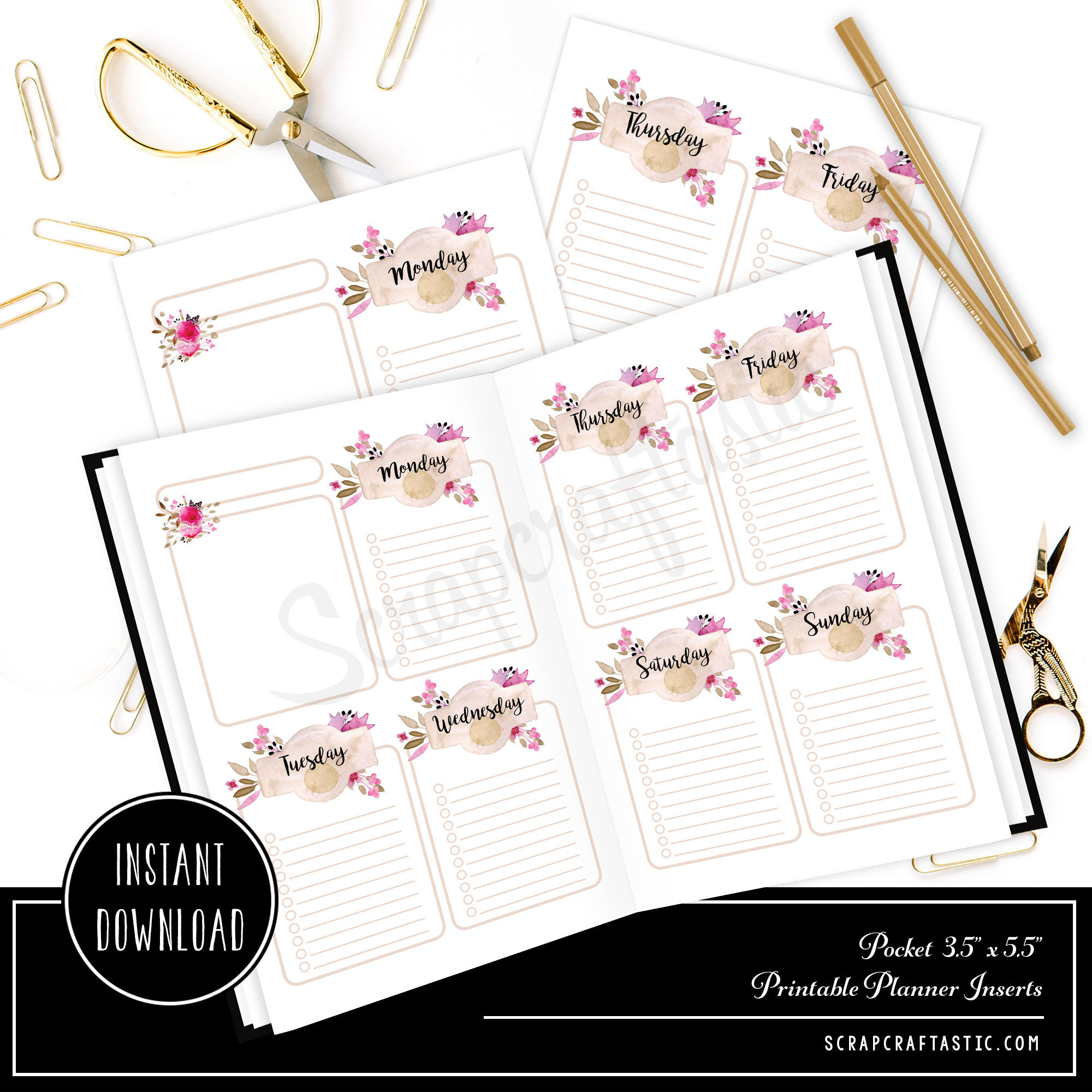 Rose Cream Undated Week on Two Page (WO2P) and Lined Notes POCKET SIZE Designed Printable Travelers Notebook and Planner Inserts 00313