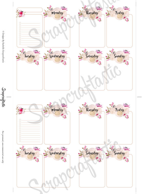 Rose Cream Undated Week on Two Page (WO2P) and Lined Notes POCKET SIZE Designed Printable Travelers Notebook and Planner Inserts