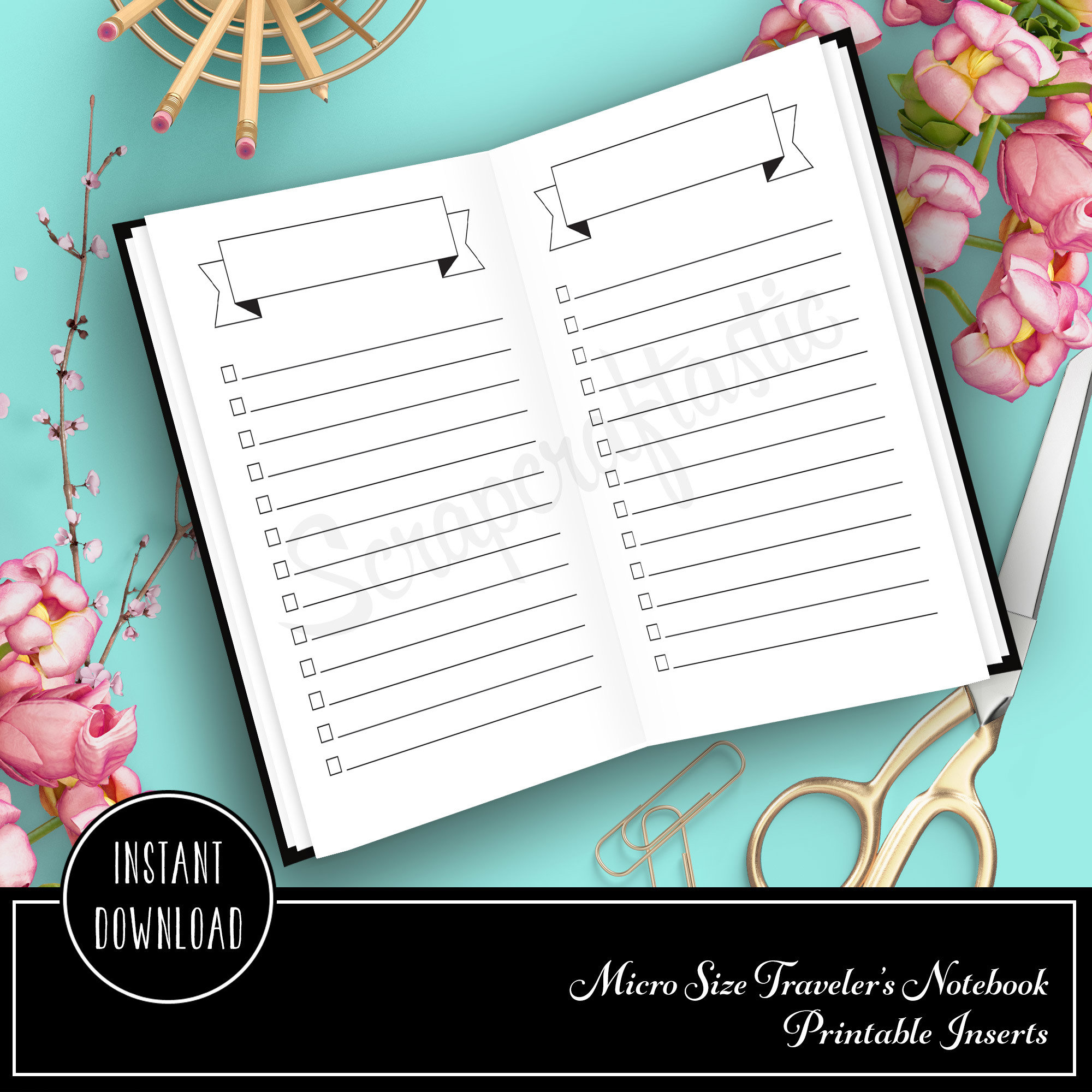 Banner Header and Check List Micro Printable Planner Insert Refill 20001