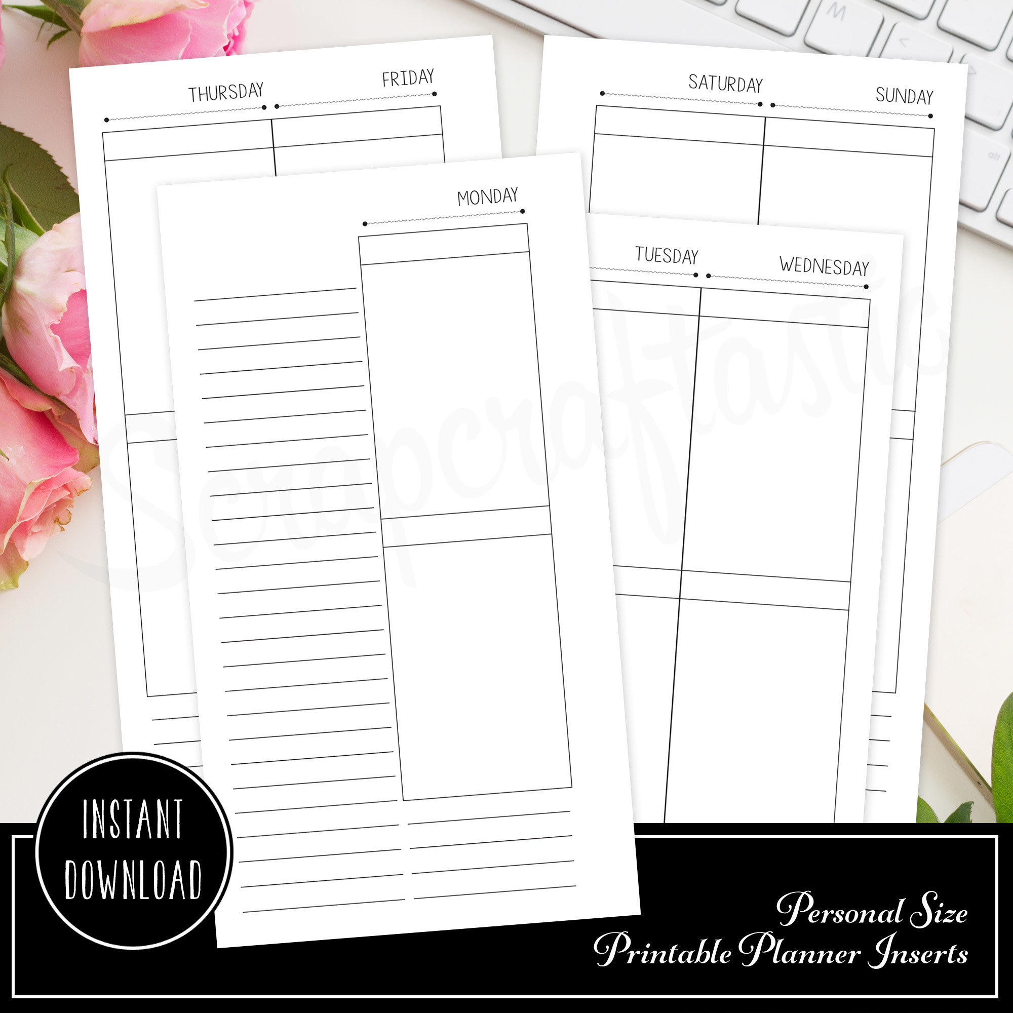 Deluxe Planner Printable Insert Refill Undated WO4P Personal Size Filofax, Kikki K, ColorCrush with MAMBI Happy Planner Size Full Boxes 00230