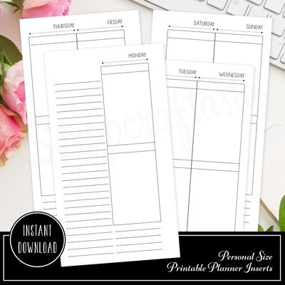 Deluxe Planner Printable Insert Refill Undated WO4P Personal Size Filofax, Kikki K, ColorCrush with MAMBI Happy Planner Size Full Boxes