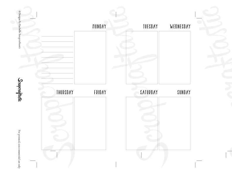 Planner Printable Insert Refill Undated WO2P Personal Size - Horizontal Days