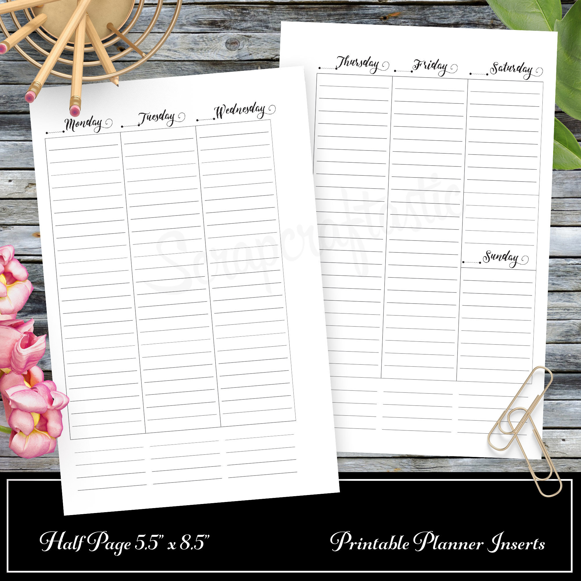 WO2P Column Lined Half Page Printable Planner Insert Refill Undated fits A5 Binder - Recollections, Filofax, Kikki K, Erin Condren width columns 00315