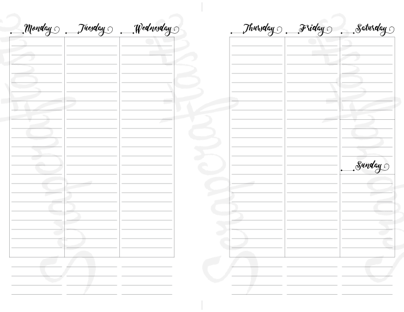 WO2P Column Lined Half Page Printable Planner Insert Refill Undated fits A5 Binder - Recollections, Filofax, Kikki K, Erin Condren width columns