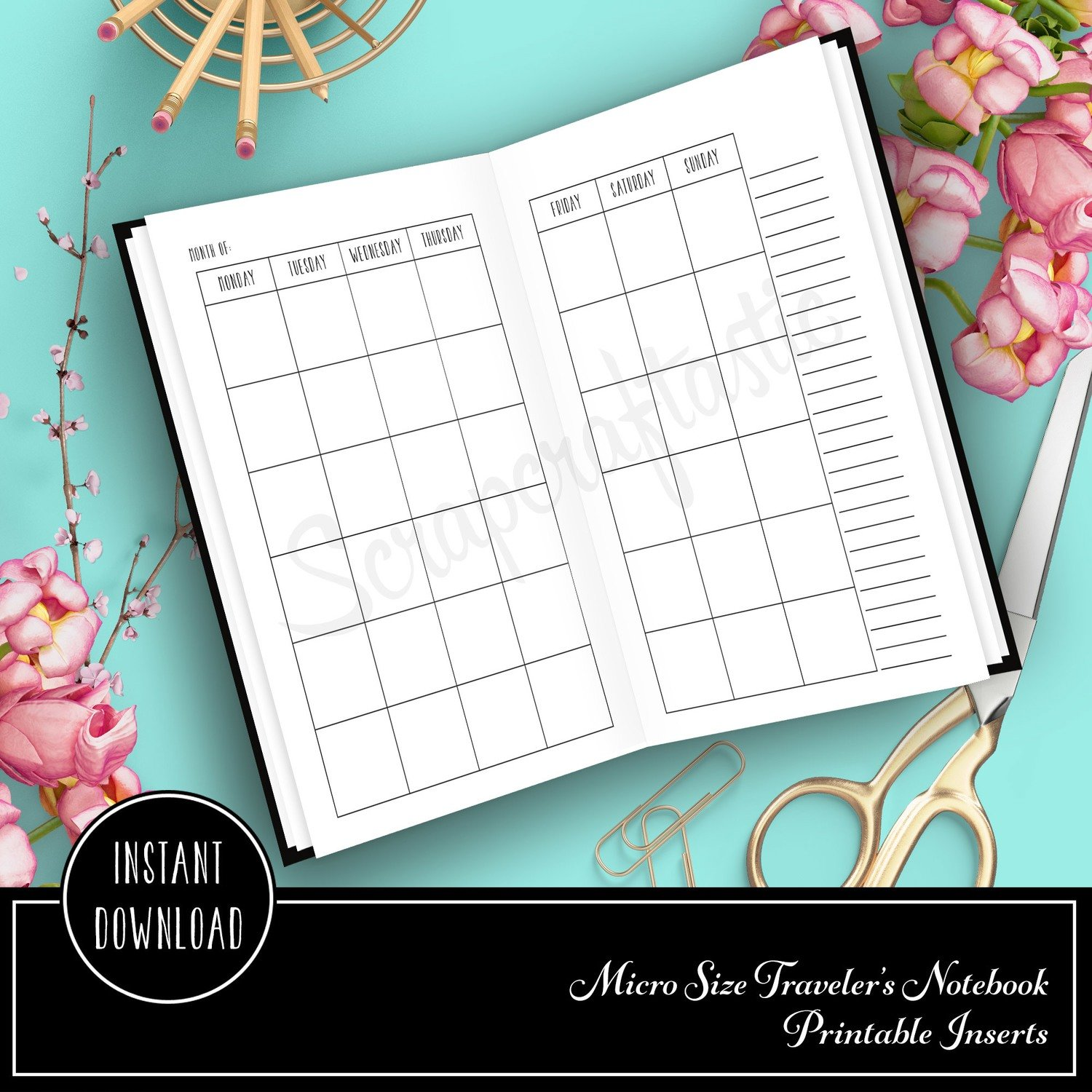Month on Two Pages (MO2P) Micro Traveler's Notebook Printable Planner Insert