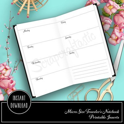 Horizontal Week on Two Pages (WO2P) Micro Printable Planner  Insert Refill