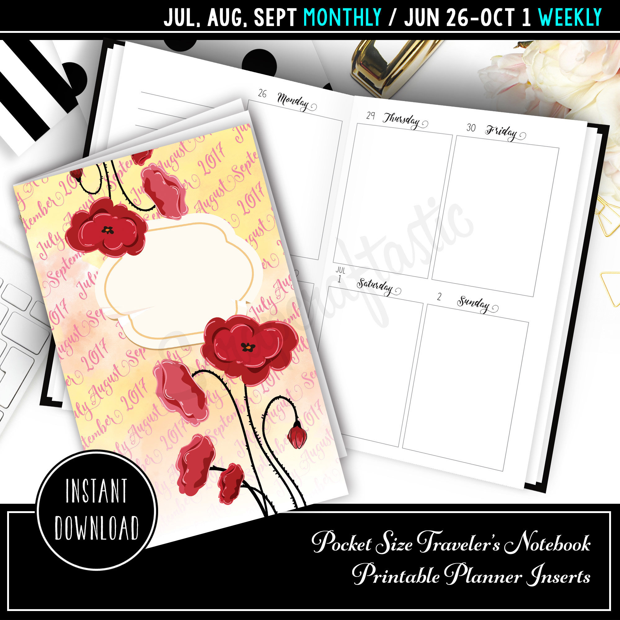 Jul-Sep 2017 Pocket Traveler's Notebook Printable Planner Inserts 10001