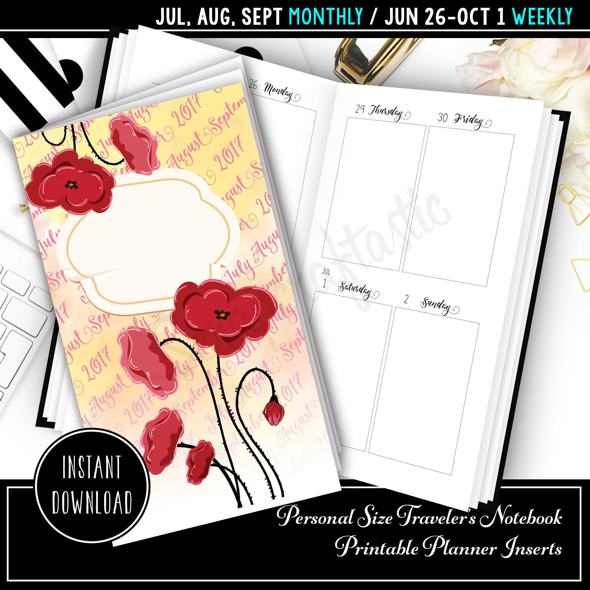Jul-Sep 2017 Personal Traveler's Notebook Printable Planner Inserts 09001