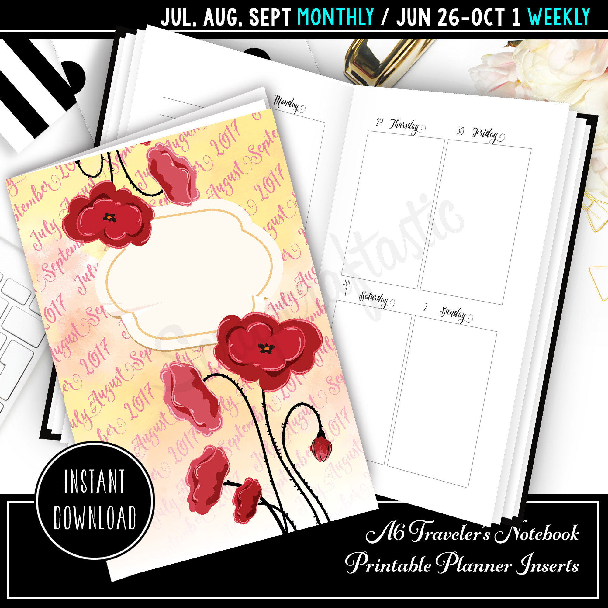 Jul-Sep 2017 A6 Traveler's Notebook Printable Planner Inserts 40001