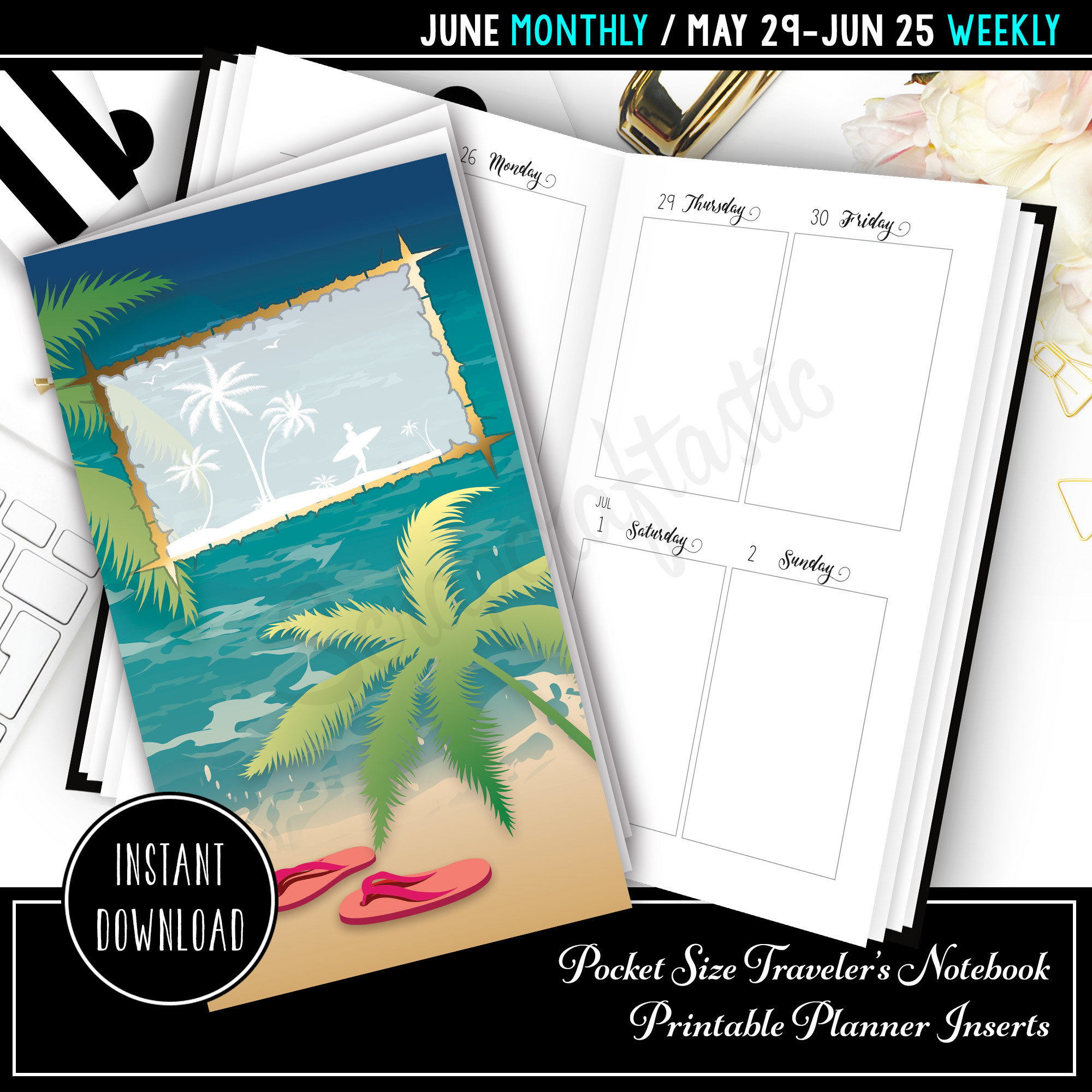 June 2017 Pocket Size Traveler's Notebook Printable Planner Inserts 10000