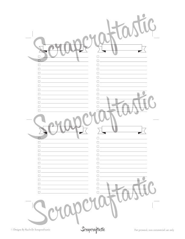 Banner Header Check List Nano / Wallet (MLG Italo) Size Travelers Notebook Printable Insert