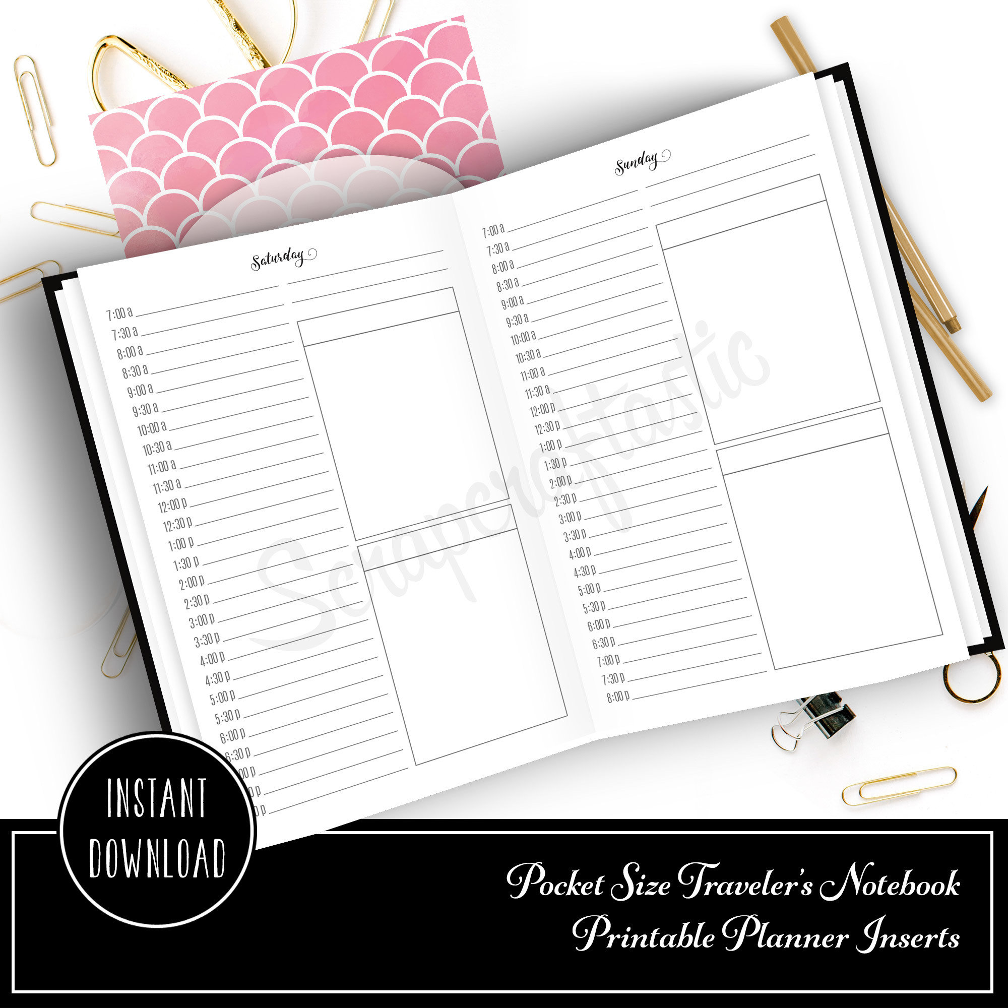 Full Month Notebook: Daily Pocket Size with MO2P, WO1P Horizontal and DO1P Daily Schedule Pages Printable 10003