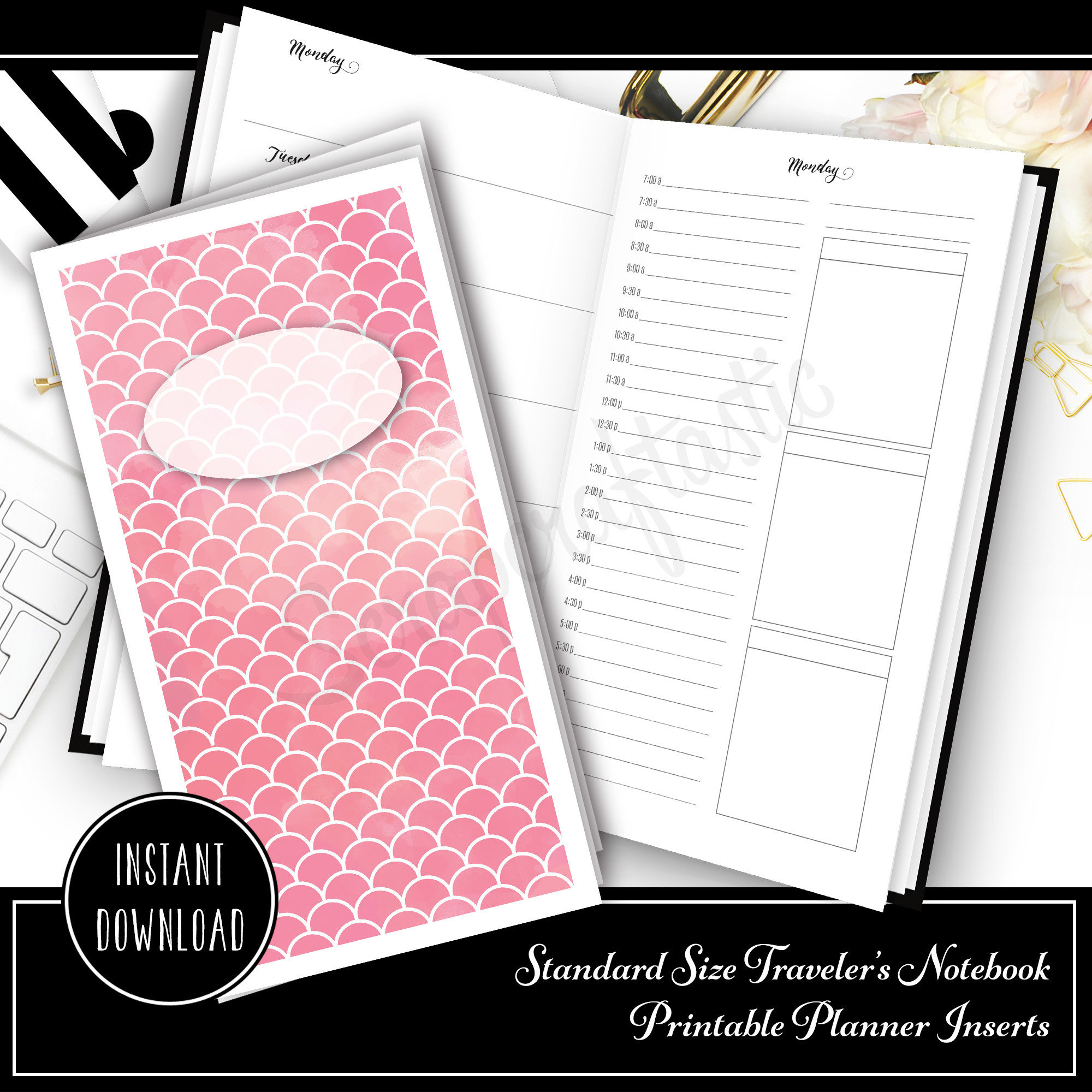 Full Month Notebook: Daily Standard Size with MO2P, WO1P Horizontal and DO1P Daily Schedule Pages Printable 30003