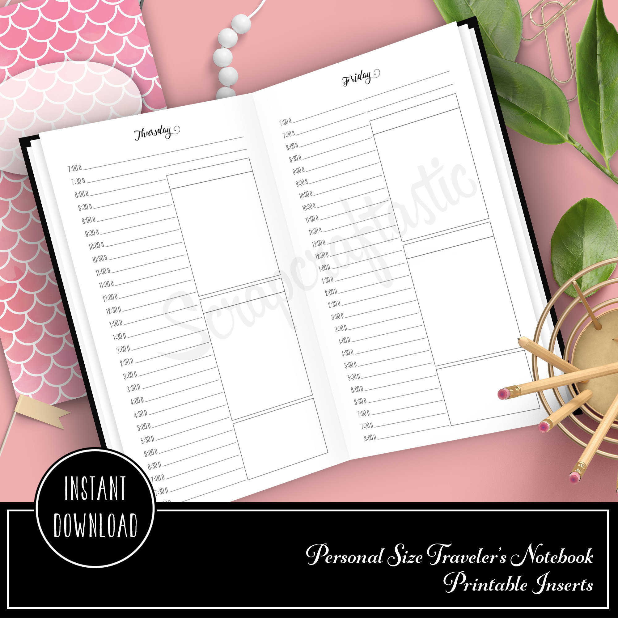 Full Month Notebook: Daily Personal Size with MO2P, WO1P Horizontal and DO1P Daily Schedule Pages Printable 09003