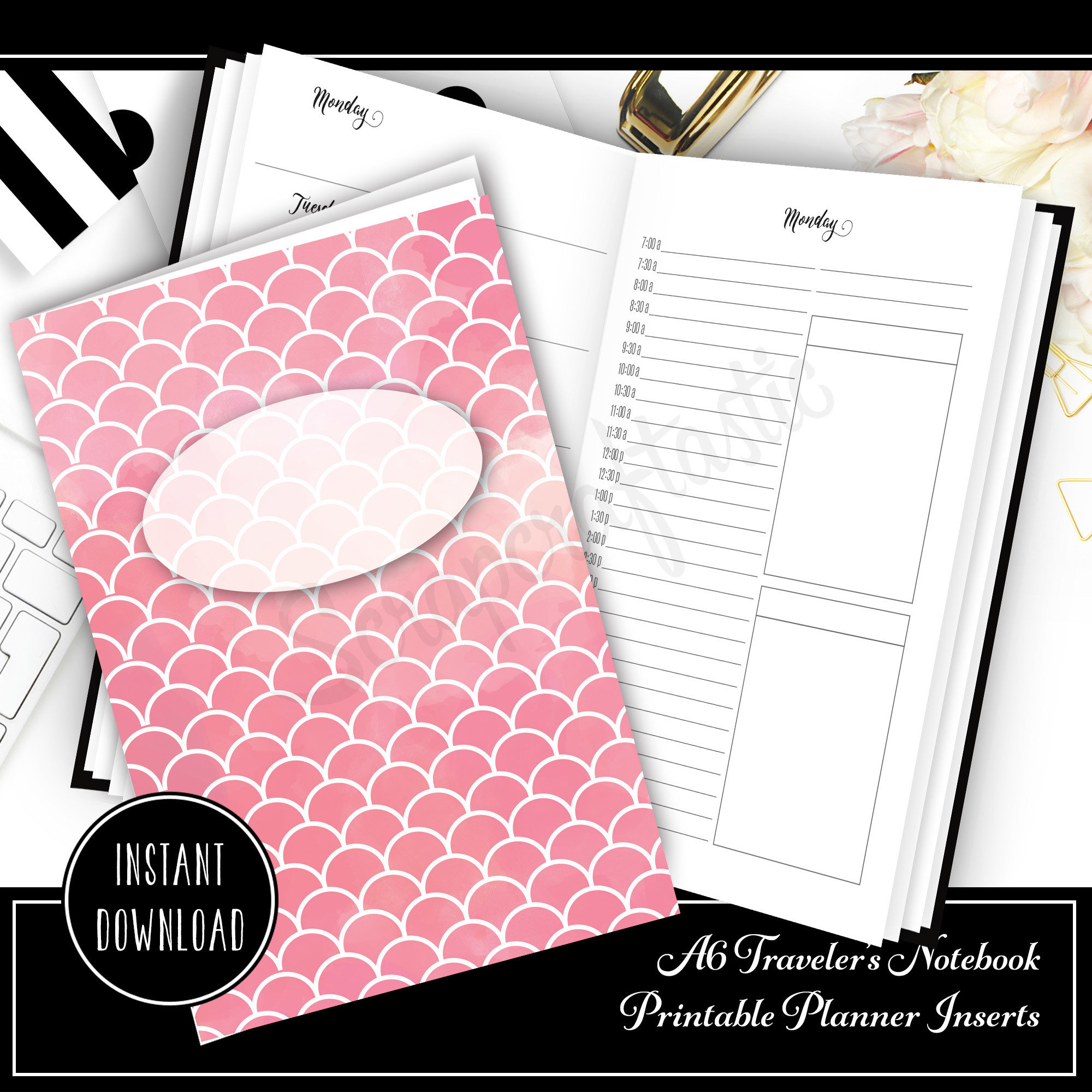 Full Month Notebook: Daily A6 Size with MO2P, WO1P Horizontal and DO1P Daily Schedule Pages Printable 40002