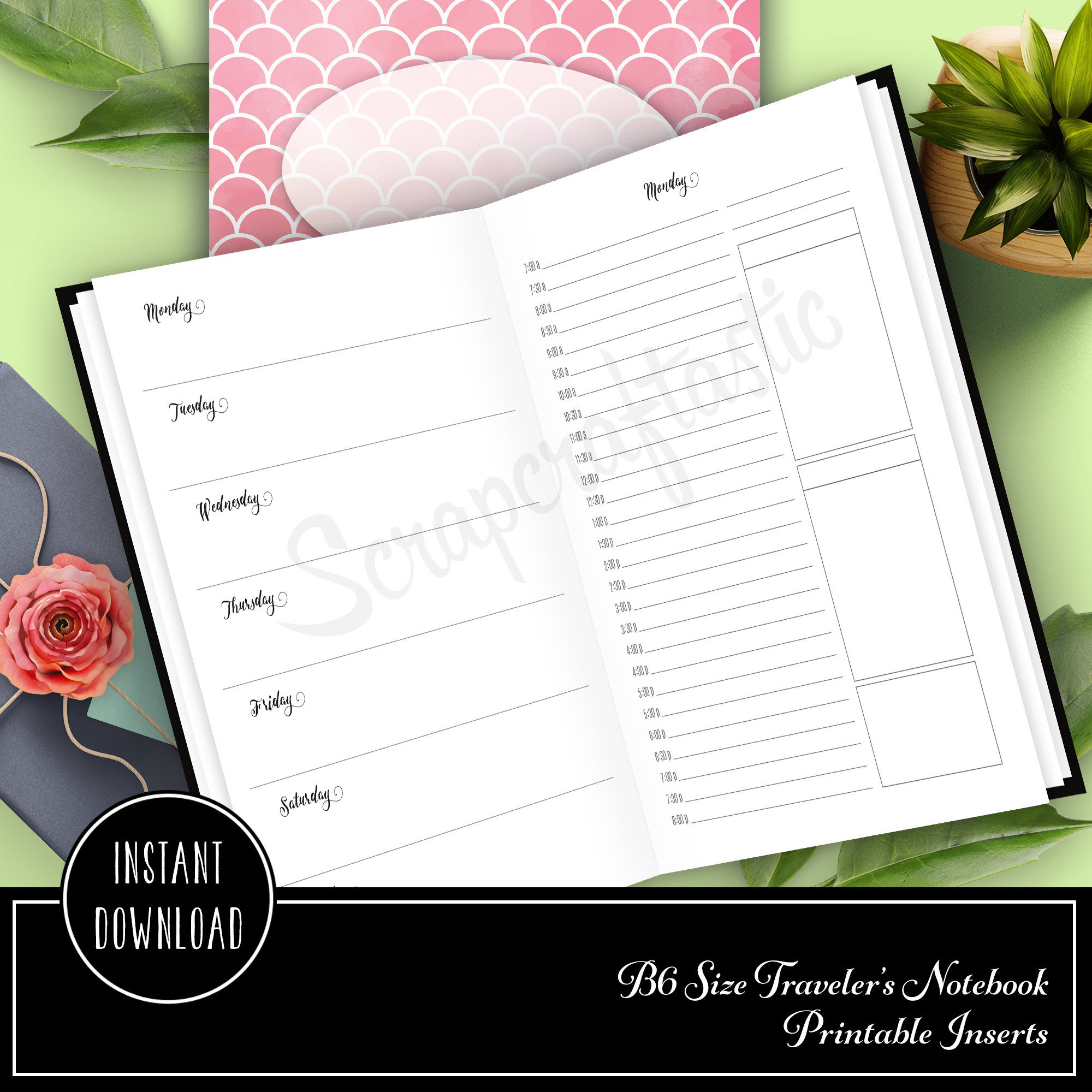 Full Month Notebook: Daily B6 Size with MO2P, WO1P Horizontal and DO1P Daily Schedule Pages Printable 50001
