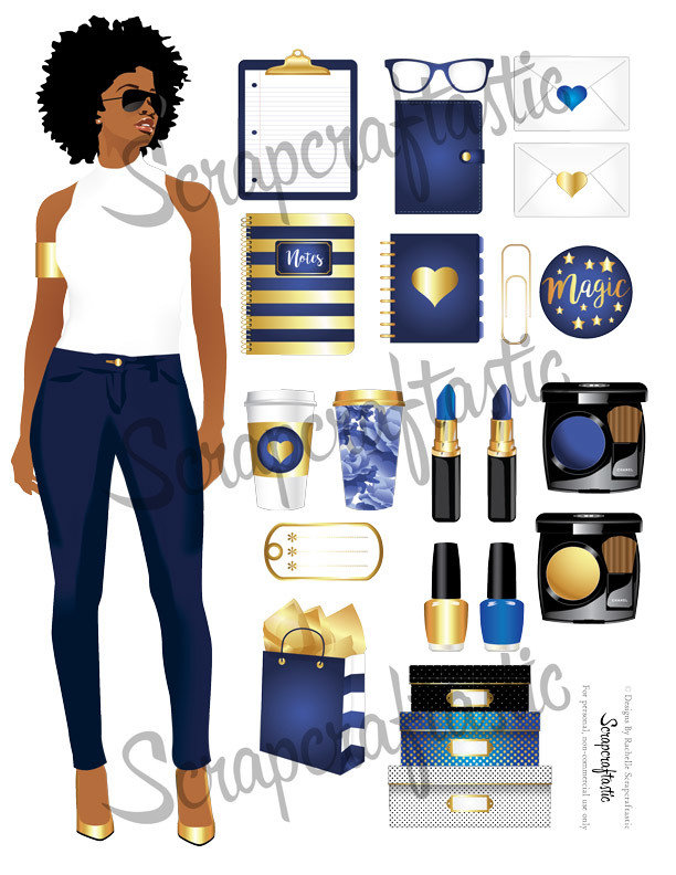 Keepin' It Classy Augusta Blue Printable Planner Stickers, Clipart and BONUS Printable Patterns