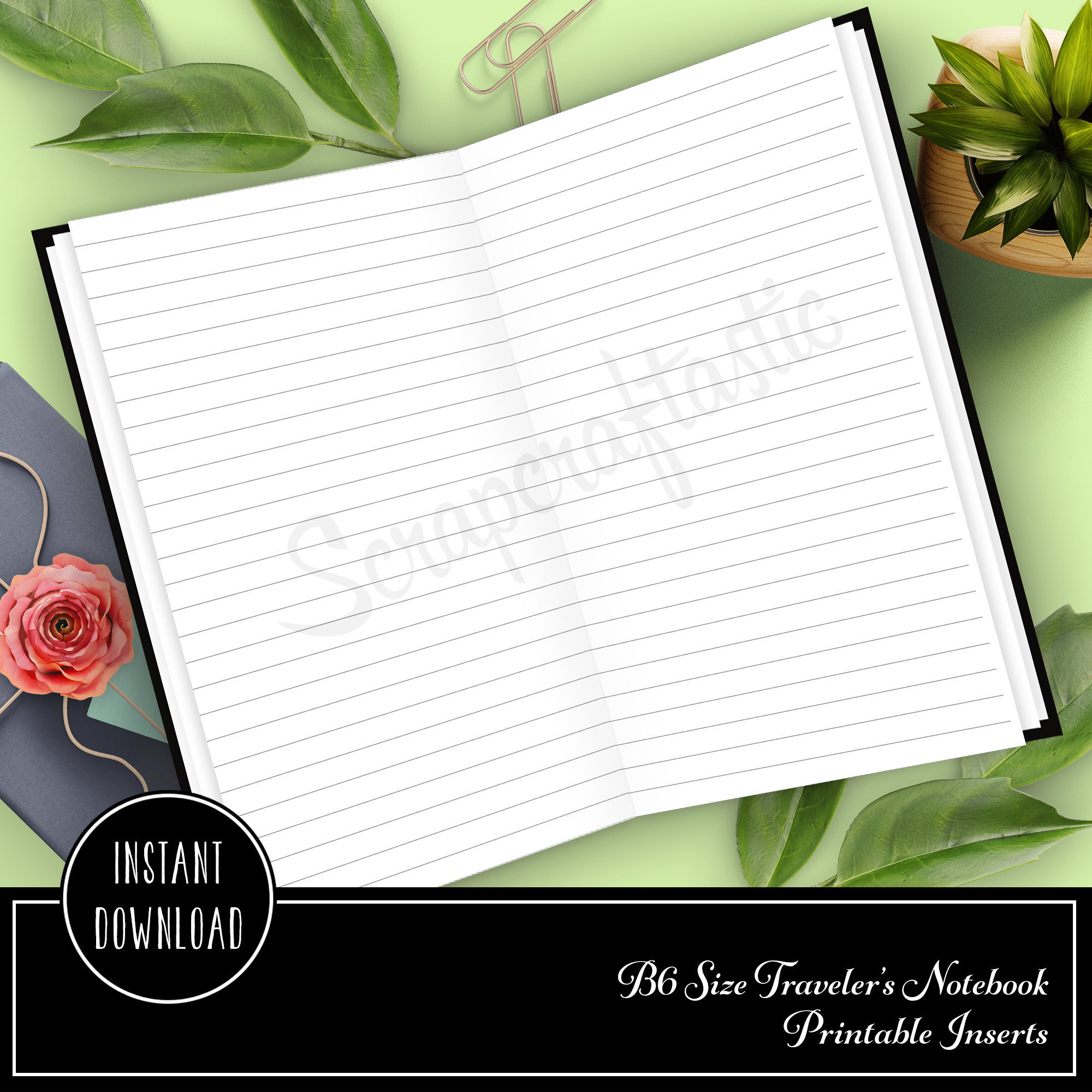 Lined B6 Traveler's Notebook Printable Inserts 50003