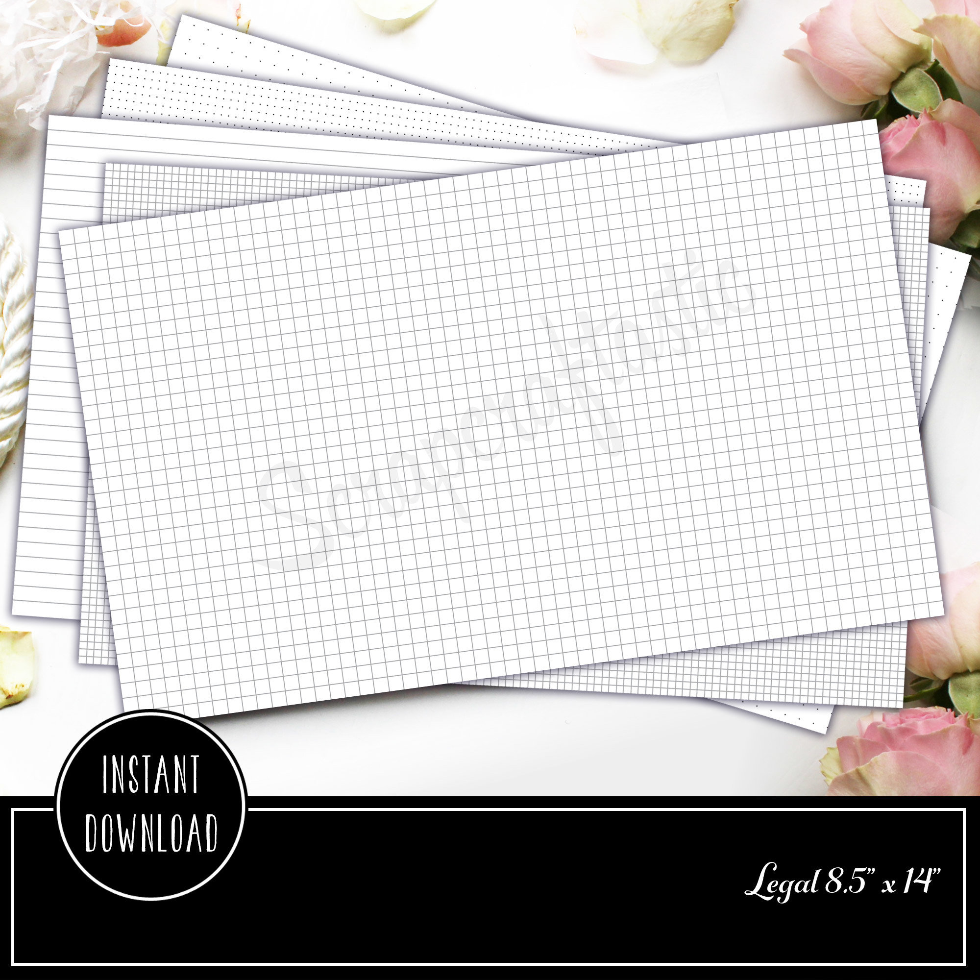 Legal Grid, Dot Grid and Landscape Lined Printable Paper 80000