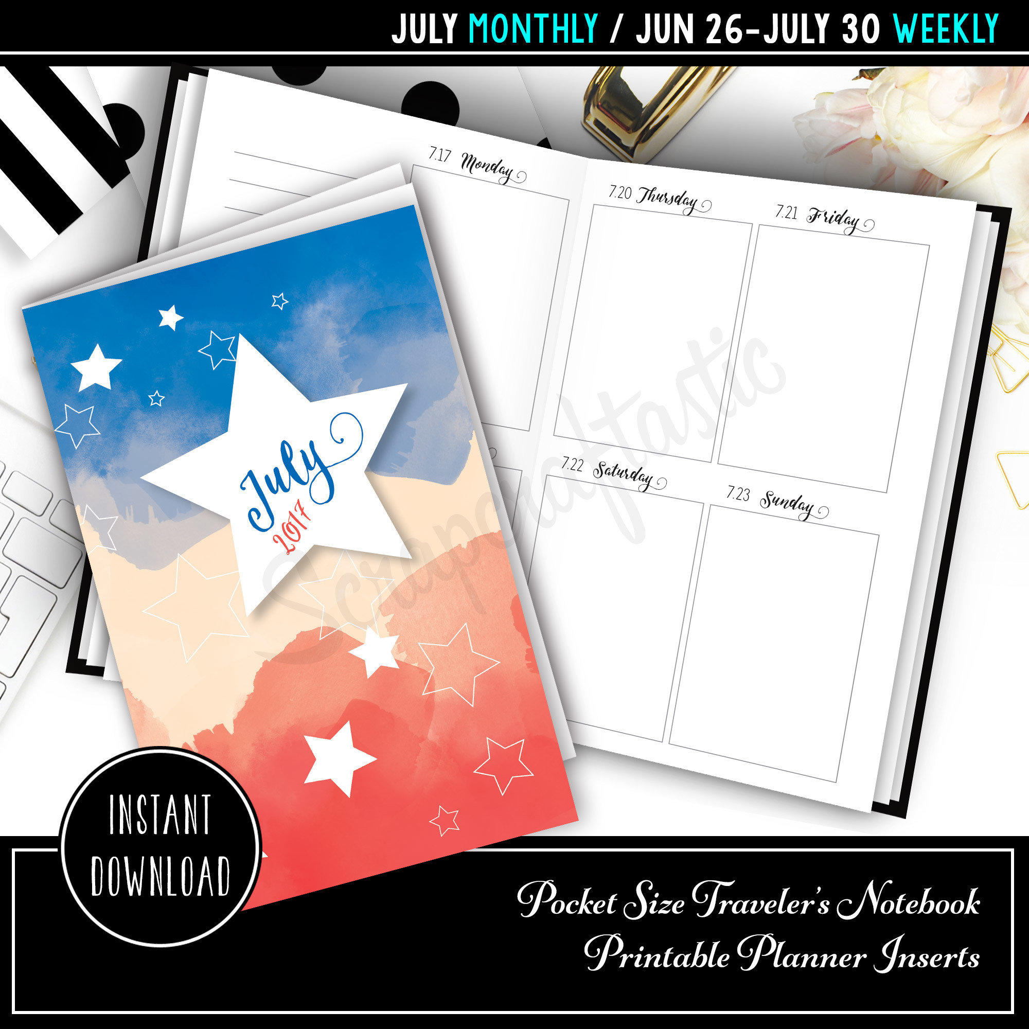 July 2017 Pocket Size Traveler's Notebook Printable Planner Inserts 10004