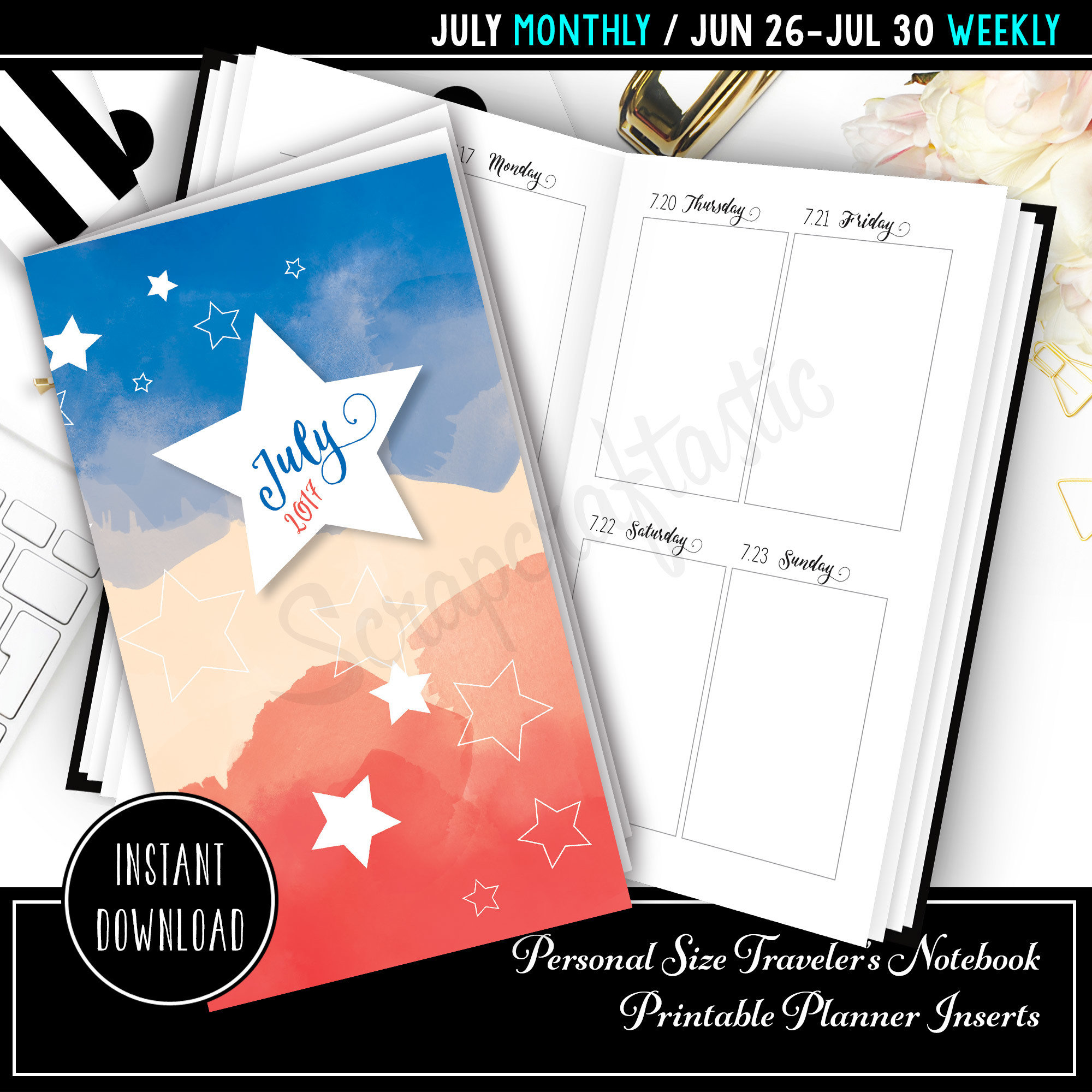 July 2017 Personal Size Traveler's Notebook Printable Planner Inserts 09009
