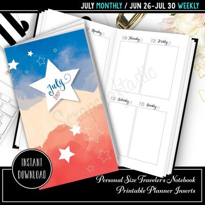 July 2017 Standard/Regular Traveler's Notebook Printable Planner Inserts