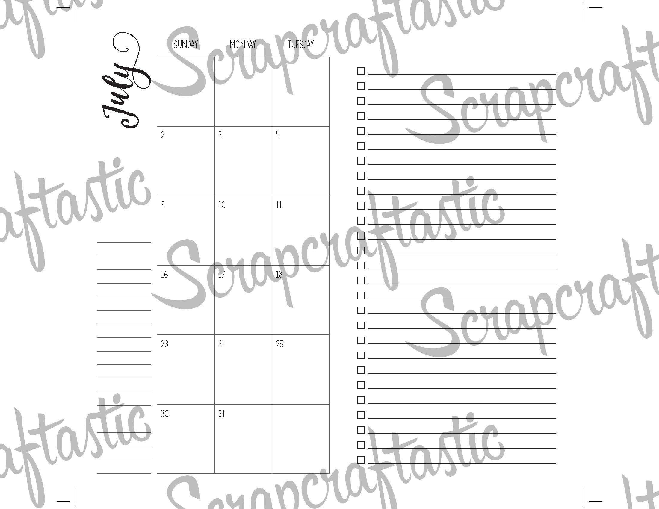 July 2017 Standard/Regular Traveler's Notebook Printable Planner Inserts